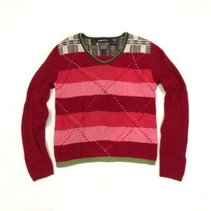 Express Jeans Lambswool Argyle Striped Sweater